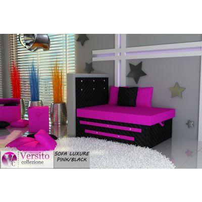 Tapczan Fotel Rozkładany łóżko Luxure Pinkblack Tapczan Dla