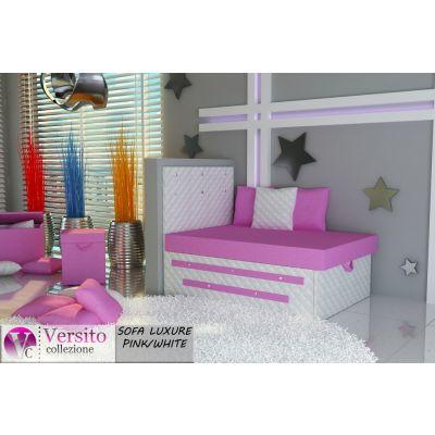 Tapczan Fotel Rozkładany łóżko Luxure Pinkwhite Tapczan Dla