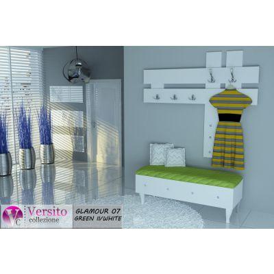Meble Do Przedpokoju Glamour 07 Green White Lawki Tapicerowane