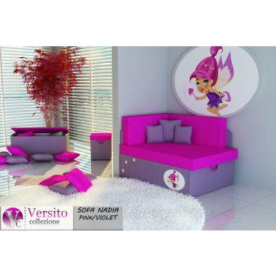 Tapczan Fotel Rozkładany łóżko Nadia Pink Violet Tapczan Dla
