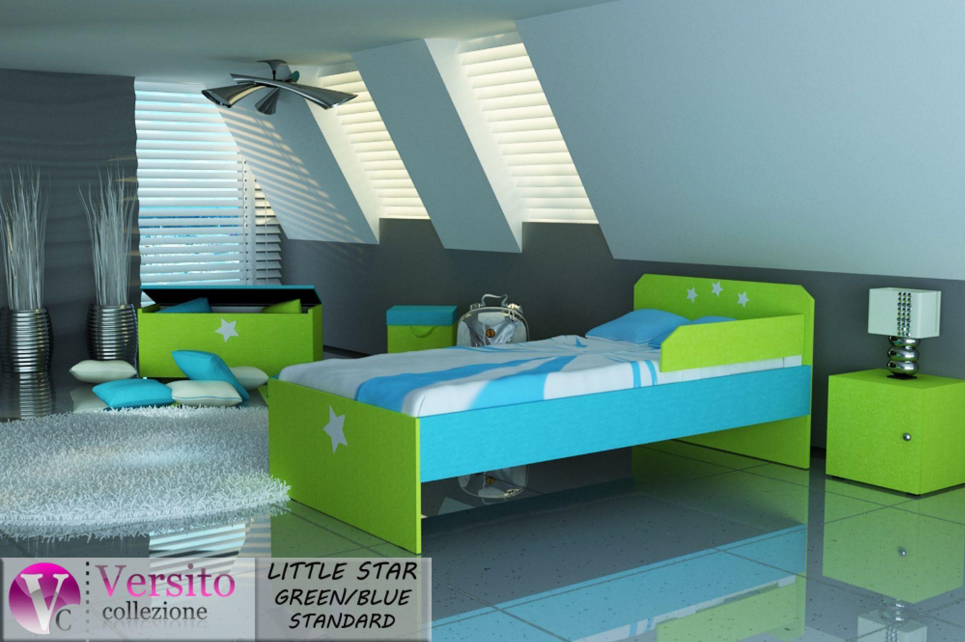 łóżko dla dziecka zielono niebieskie