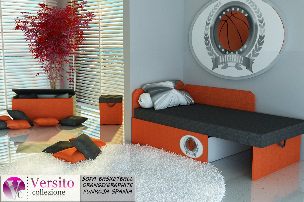 Tapczan Fotel Rozkładany łóżko Basketball Orange Tapczan Dla