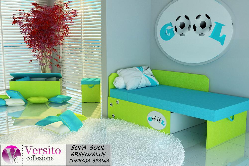 Tapczan Fotel Rozkładany łóżko Gool Green Blue Tapczan Dla