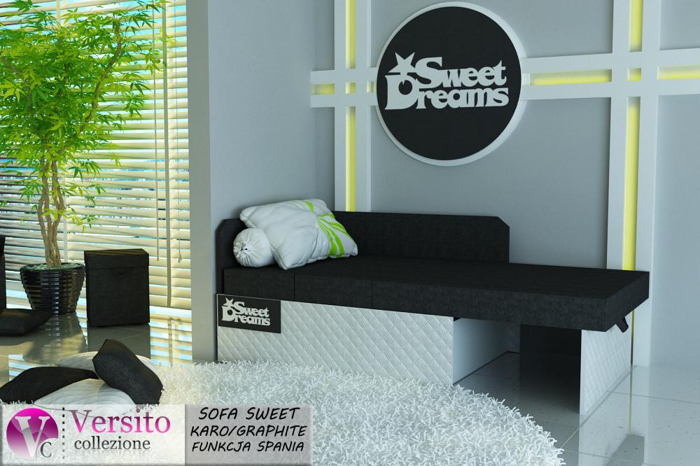 Tapczan Fotel Rozkładany łóżko Sweet Karo Graphite Tapczan Dla